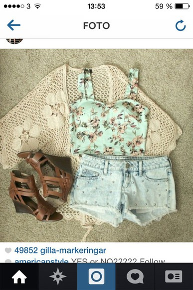 outfit kimono bustier summer shorts floral tank top floral skirt high heels knitted cardigan summer outfits