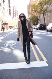 mind body swag,blogger,sunglasses,bag,ankle boots,camel coat,susanna boots,chloe,black boots,studs,studded,embellished,studded shoes,camel,black leather pants,leather pants,turtleneck,turtleneck sweater,black sweater,red bag,winter outfits,winter look