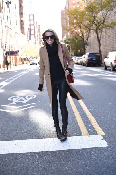 mind body swag blogger sunglasses bag ankle boots camel coat susanna boots chloe black boots studs studded embellished studded shoes camel black leather pants leather pants turtleneck turtleneck sweater black sweater red bag winter outfits winter look