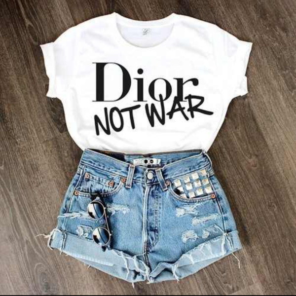 shirt shorts sunglasses quote on it short t-shirt outfit cute outfits dior top dior studded shorts white shirt denim denim shorts glasses distressed denim shorts jewels white black white t-shirt