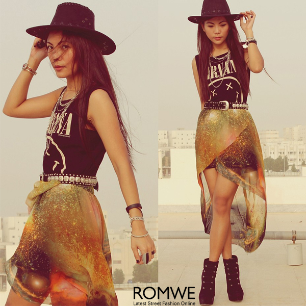 ROMWE | Mysterious Universe Tulip Skirt, The Latest Street Fashion