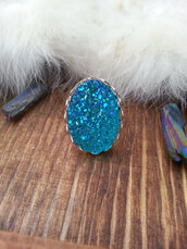 jewels,the glitzy hen,druzy ring,silver ring,blue,blue ring,statement ring,gemstone ring,lace ring