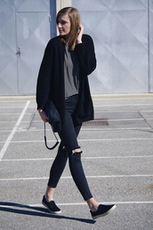 katiquette,blogger,slip on shoes,cardigan,skinny jeans,ripped jeans,bag,shirt,jeans,shoes,all black everything,black ripped jeans,promod,striped top,tobi,streetstyle