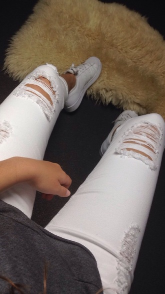 jeans white jeans ripped jeans adidas superstars