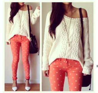 sweater pants jeans shoes high heels pumps white dress pullover cute orange peach polka dots colorful style brand love