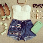 shorts,blouse,belt,bag,shoes,tank top,shirt,ballet flats,gold,mint,pointed flats,studded clutch,metallic clutch,jewels,clutch,handbag,top,hair accessory
