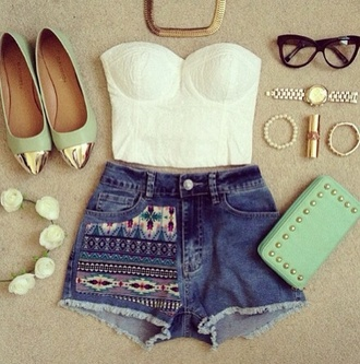 shorts blouse belt bag shoes tank top shirt teal clutch flats bustier glasses gold necklace bracelets swag crop tops white summer sweetheart neckline high waisted shorts aztec gold chain glasss sunglasses