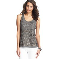 Wavy Sequin Cotton Tank | Loft