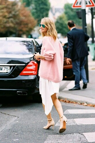 sweater oversized sweater pastel pink classy skirt