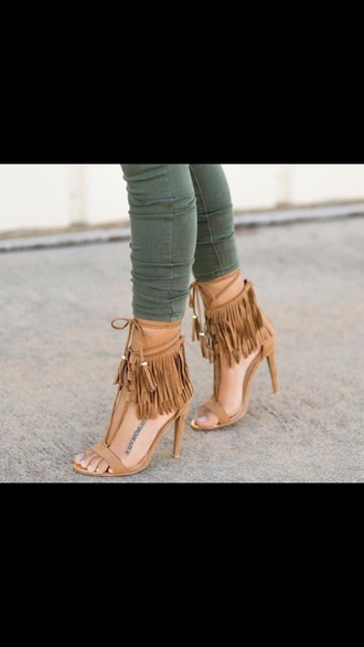 shoes fringe shoes high heels open peep toe tassel high  heeel sandal heels tie up heels brown heels fringes black shoes black heels ripped jeans streetwear fringe heels sandal heels high heel sandals