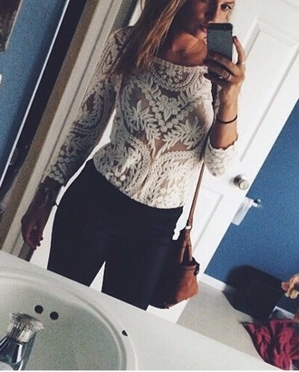 white lace crochet top lace top crochet see through