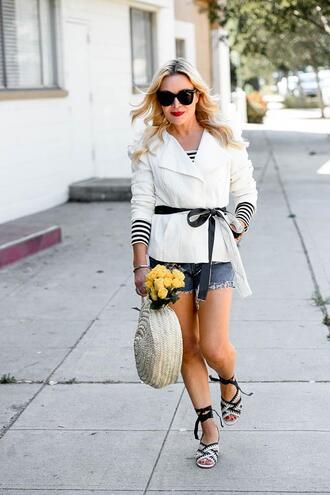 thehuntercollector blogger jacket top shorts shoes bag jewels straw bag round bag sandals striped top blazer denim shorts