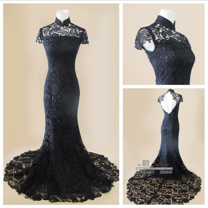 Angel Bridal New Arrival Black Lace Evening Dresses Prom Formal Gown ...