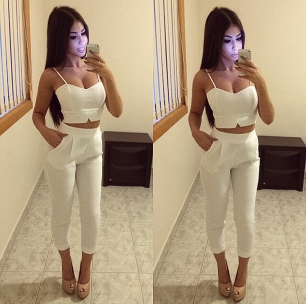 Pants white outfit tumblr outfit outfit idea tight heels top crop tops crop - Wheretoget