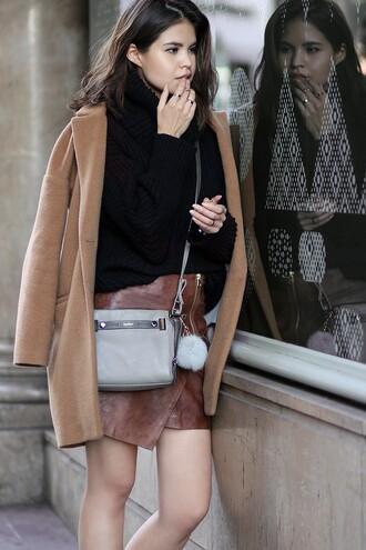 fake leather blogger coat sweater skirt bag shirt jeans