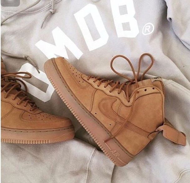 shoes nike air max jordan nike air force nike air force 1 mid brown beige  velcro 9d81baa681