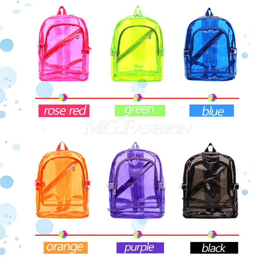 1e230f4e8809 Women Fashion Transparent Clear Backpack Plastic Student Bag School Bag  Bookbag | eBay