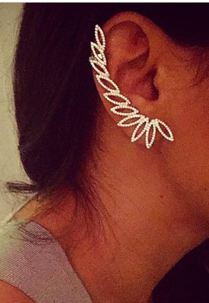 jewels earring ear diamond round oval  jewelry diamond rhinestone help ear jacket ear cuff ear pin