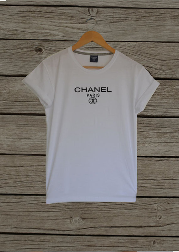 Coco chanel shirt in white inspired cc chanel logo by celebritee