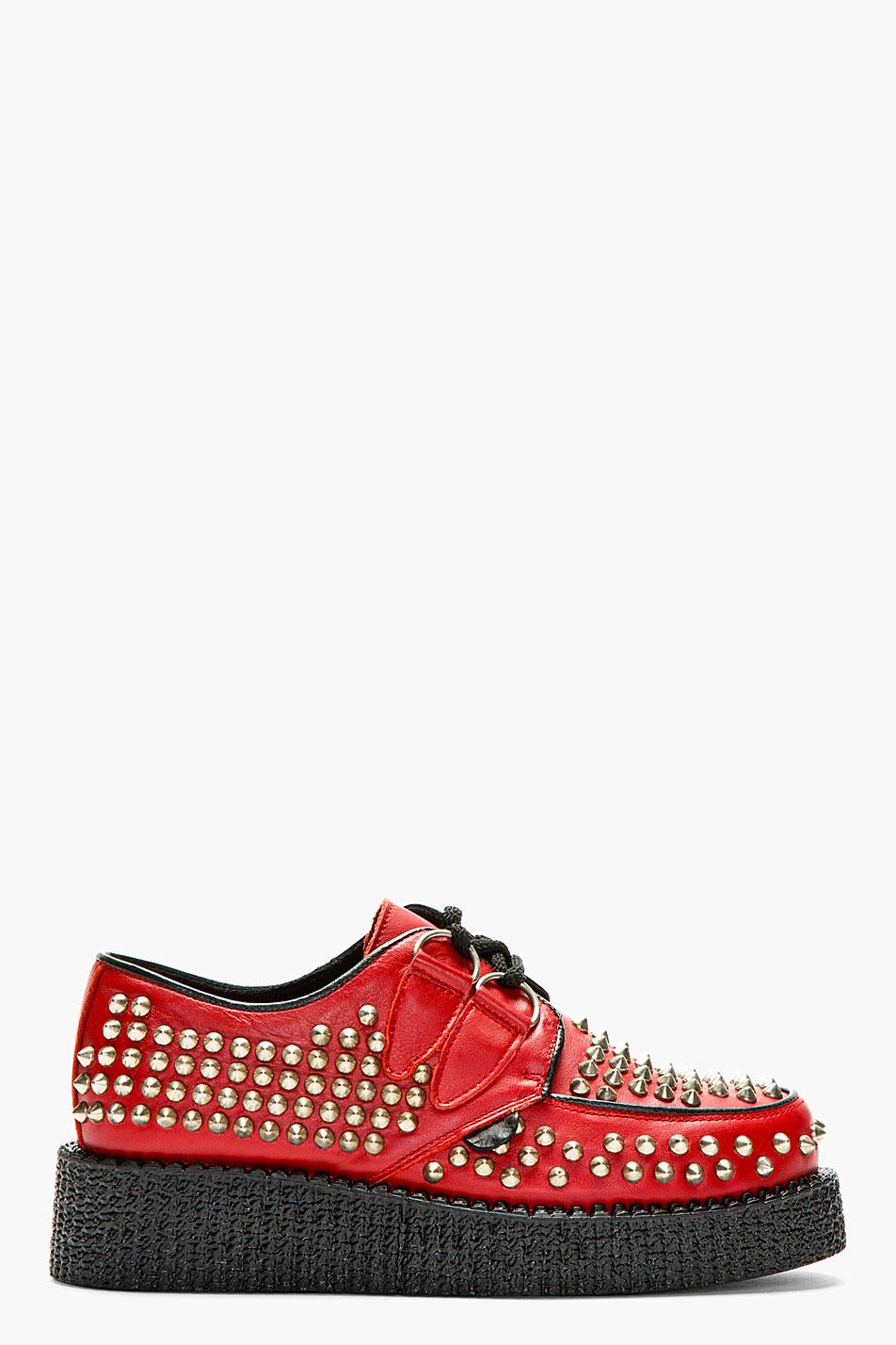 Underground red allover stud wulfrun platform shoes