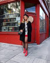 shoes,tumblr,boots,red boots,ankle boots,tights,coat,black coat,beret,sweater,knit,knitwear,knitted sweater