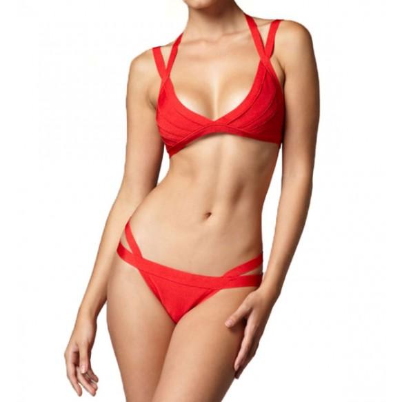 Double Strap Triangle Bikini Set at Style Moi
