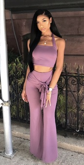 jumpsuit,lavender,halter neck,halter top,party outfits,sexy,sexy outfit,summer outfits,spring outfits,fall outfits,classy,date outfit,clubwear,wedding clothes,wedding guest,romanitc,romantic,summer holidays