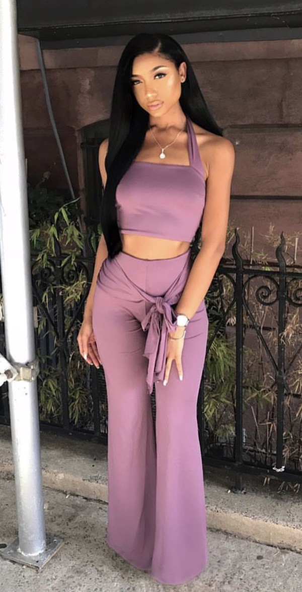jumpsuit lavender halter neck halter top halter neck party outfits sexy sexy outfit summer outfits spring outfits fall outfits classy date outfit clubwear wedding clothes wedding guest romanitc romantic summer holidays