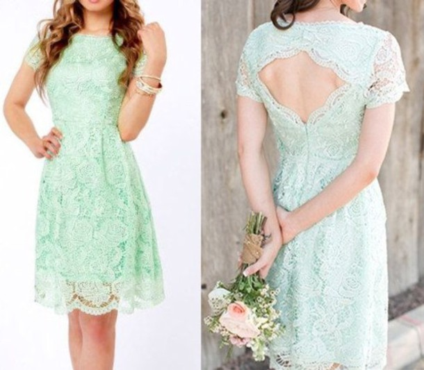dress mint lace short dress
