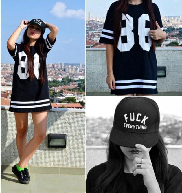 2014 New Summer Women Celebrity 86 American Baseball Tee Oversized T Shirt Top Short Sleeve Loose Dress, Black,S, M, L, XL Ti57-in Dresses from Apparel & Accessories on Aliexpress.com | Alibaba Group