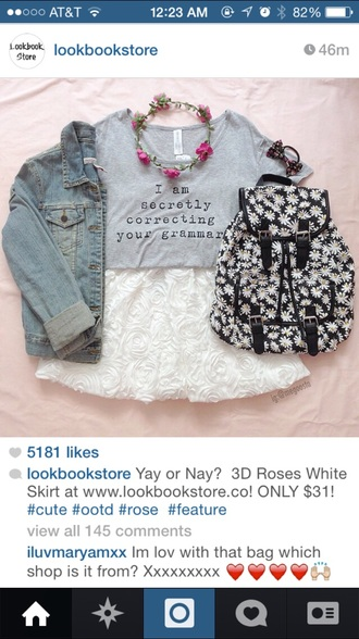 t-shirt style sassy grey shirt hipster boho coachella summer outfits summer dress outfit skirt flower crown bows bag backpack fashion indie