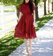 dress,burgundy,red,red dress,hollow dress,midi dress,lovely,cute,fashion,pretty