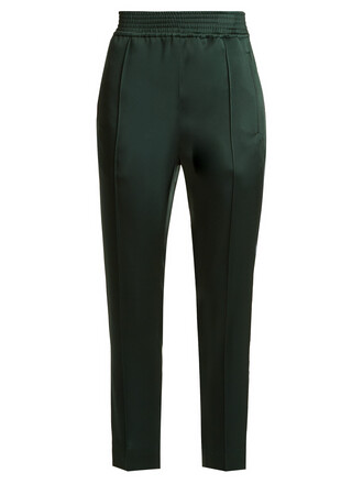 cropped high satin green pants