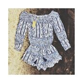 romper,pattern,blue,fashion,summer,style,spring,off the shoulder,long sleeves,freevibrationz