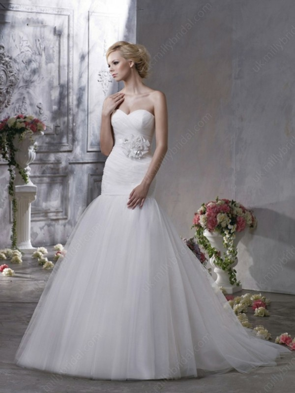 dress mermaid wedding dress flowers sweetheart dress beautiful