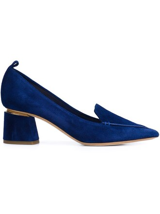 heel embellished pumps blue shoes