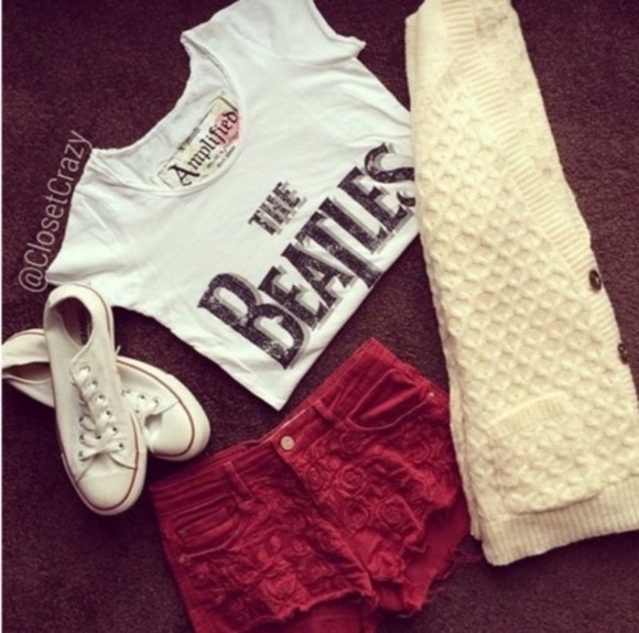 shorts red shorts red shirt t-shirt beatles the beatles band t-shirt flowers all stars white white shirt iwantit the beatles t-shirt where did u get that