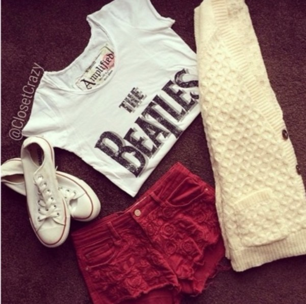 shirt the beatles t-shirt band t-shirt shorts flowers converse white white shirt red red shorts the beatles the beatles t-shirt sweater shorts #red #shirt