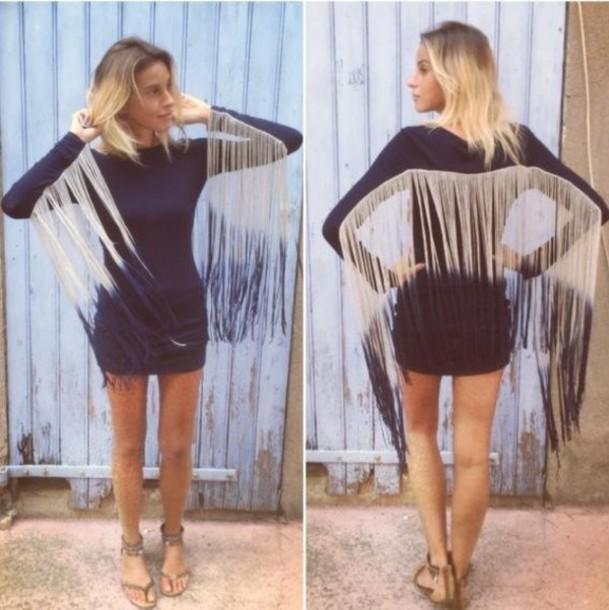 dress summer dress franges black hot clothes