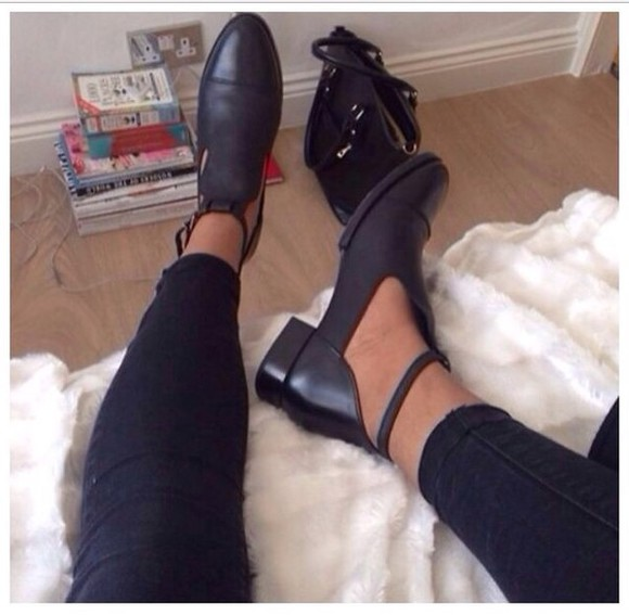 cut-out shoes boots black cut out boots