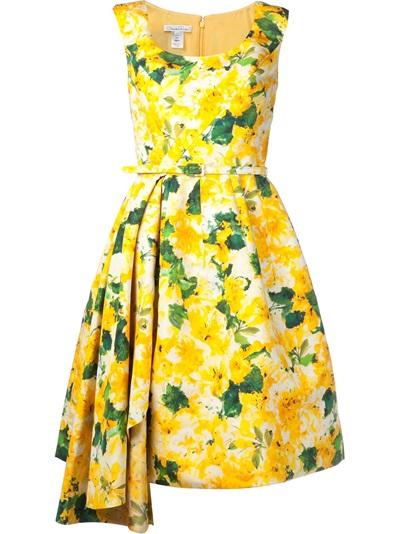Oscar De La Renta Floral Pleated Dress - Capitol - Farfetch.com