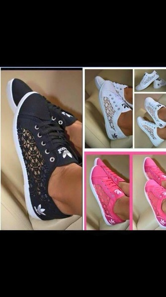 shoes adidas laces adidas adidas shoes black black adidas white white adidas pink pink adidas summer beautiful hot beach lace lace shoes summer shoes flowers flower shoes adidas lace amazing unique shoes gorgeous sneakers summer sneakers adidas lace effect trainers adidas originals trainers size 6 white adidas shoes