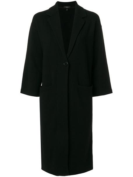 theory coat women spandex black wool