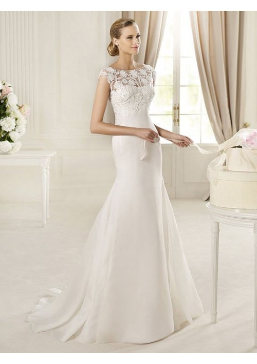 Wedding dress online shop - Imitated Silk and Lace Jewel Neckline Mermaid Style with Exquisite Lace back 2013 Wedding Dresses 105383