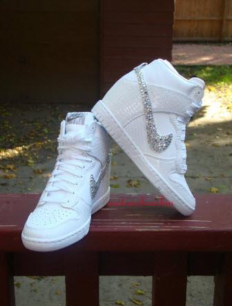 online retailer 2492c 738ef Wedding Custom Bling Rhinestone White Snakeskin Croc Nike Dunk Sky Hi Wedge  Sneaker- Just Did It
