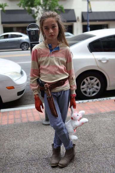cream stripes stripe the walking dead jumper t-shirt t-shirt rugby shirt halloween costume