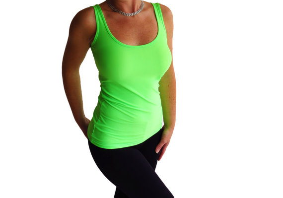 Lycra Neon Green Tank Top Shirt By Ancyshop On Etsy