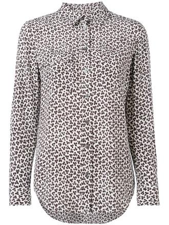 shirt women white print silk leopard print top