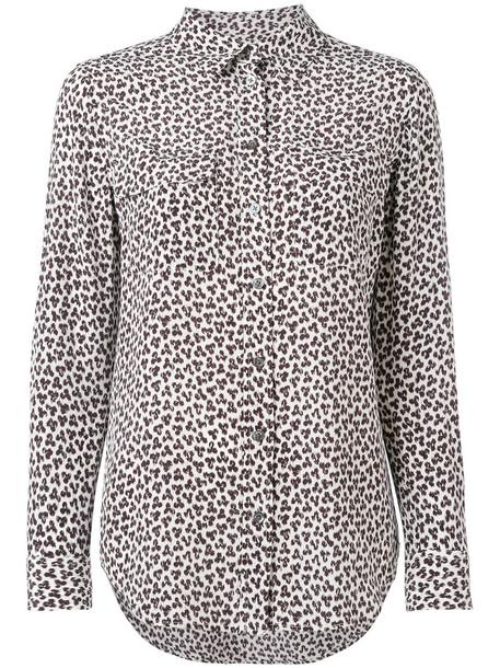 Equipment shirt women white print silk leopard print top