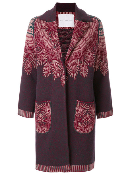 Giada Benincasa coat fur fox women knit pattern red